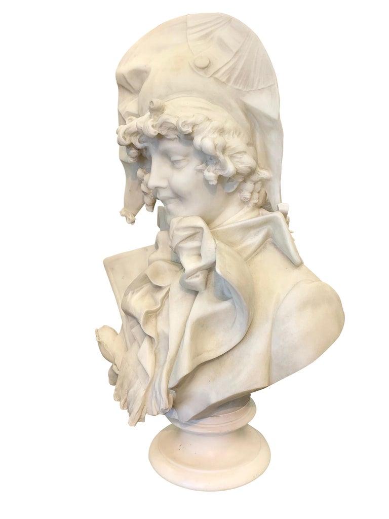 Antique Italian marble sculpture of a smiling lady by Ferdinando Vichi 3