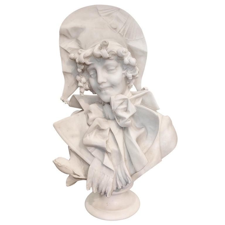 Antique Italian marble sculpture of a smiling lady by Ferdinando Vichi
