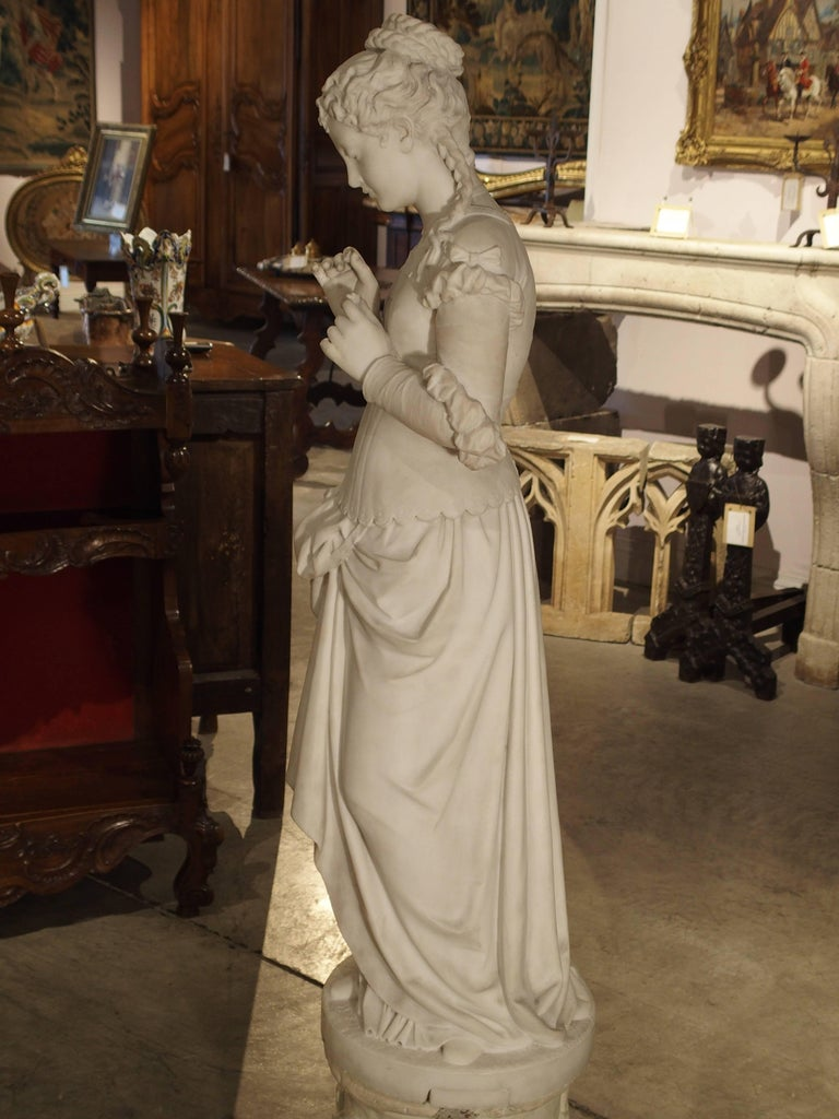 Antique Italian Marble Statue of a Woman, Late 19th Century For Sale 8