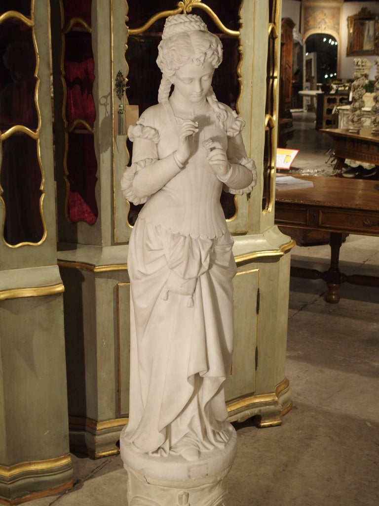 Antique Italian Marble Statue of a Woman, Late 19th Century For Sale 13