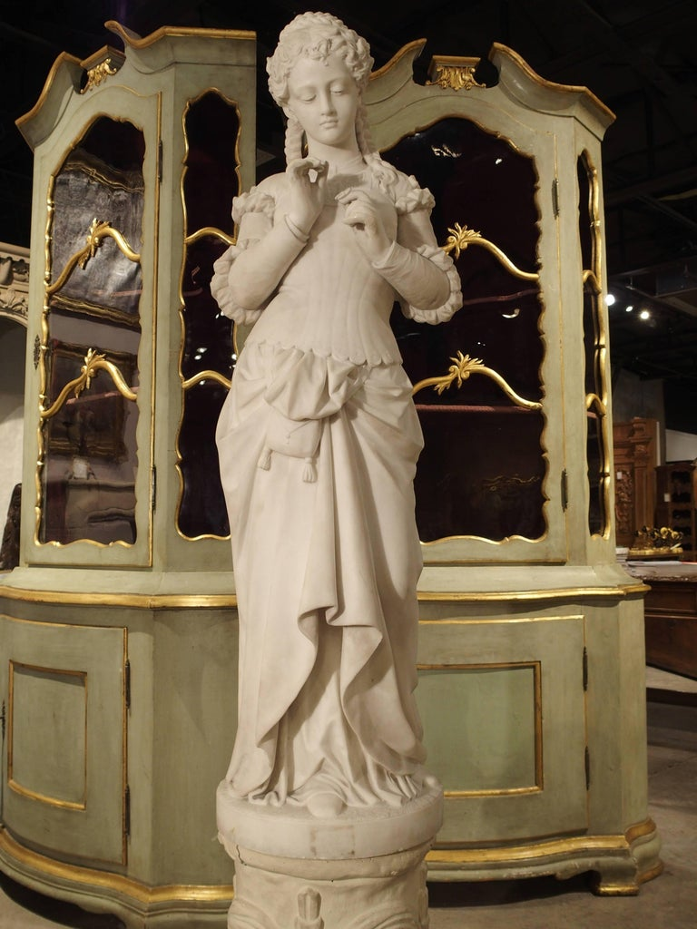 Antique Italian Marble Statue of a Woman, Late 19th Century For Sale 14