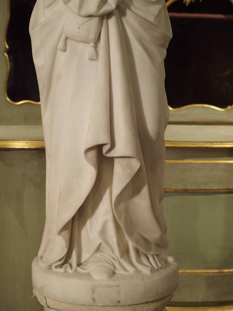 Antique Italian Marble Statue of a Woman, Late 19th Century For Sale 15