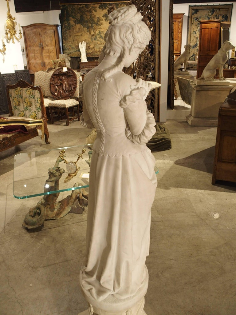 Antique Italian Marble Statue of a Woman, Late 19th Century For Sale 2