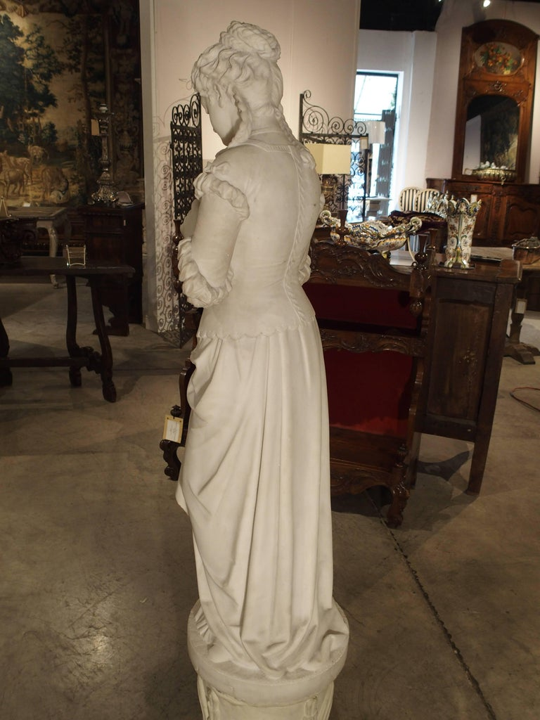 Antique Italian Marble Statue of a Woman, Late 19th Century For Sale 5