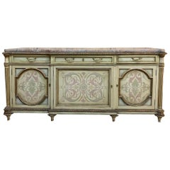 Antique Italian Marble-Top Painted Buffet