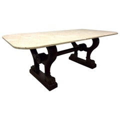 Antique Italian Marble Walnut Table