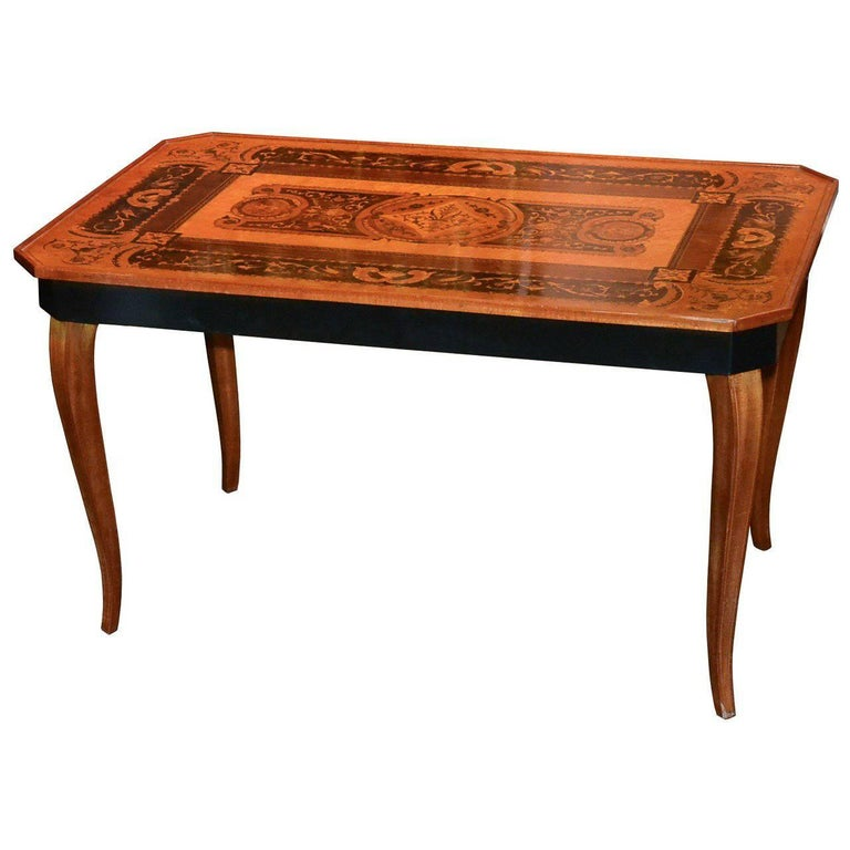 Antique Italian Marquetry Inlaid Coffee Table For