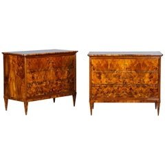 Antique Italian Neoclassical Burl Walnut and Maple Inlay Chest of Drawers, Pair