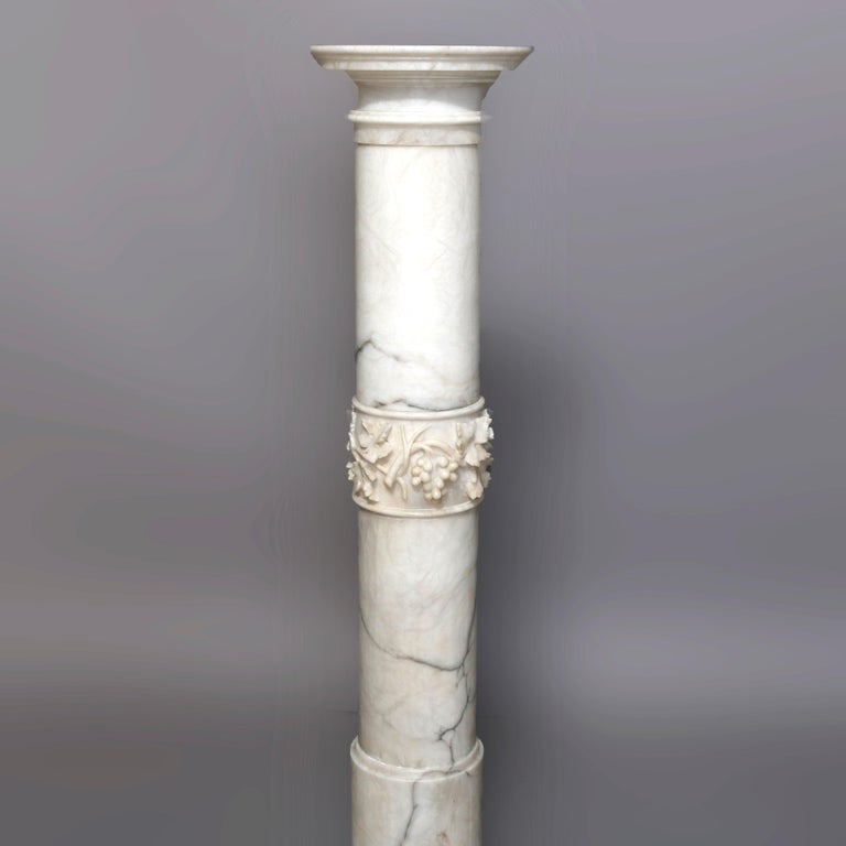 Classical Greek Antique Italian Neoclassical Carved Marble Sculpture Display Pedestal circa 1890 For Sale