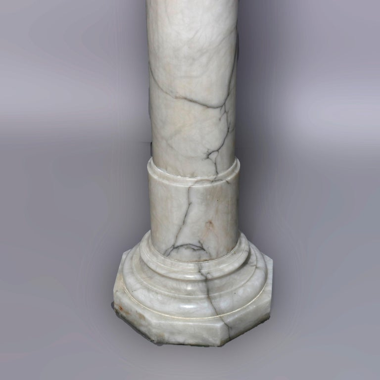 Antique Italian Neoclassical Carved Marble Sculpture Display Pedestal circa 1890 In Good Condition For Sale In Big Flats, NY