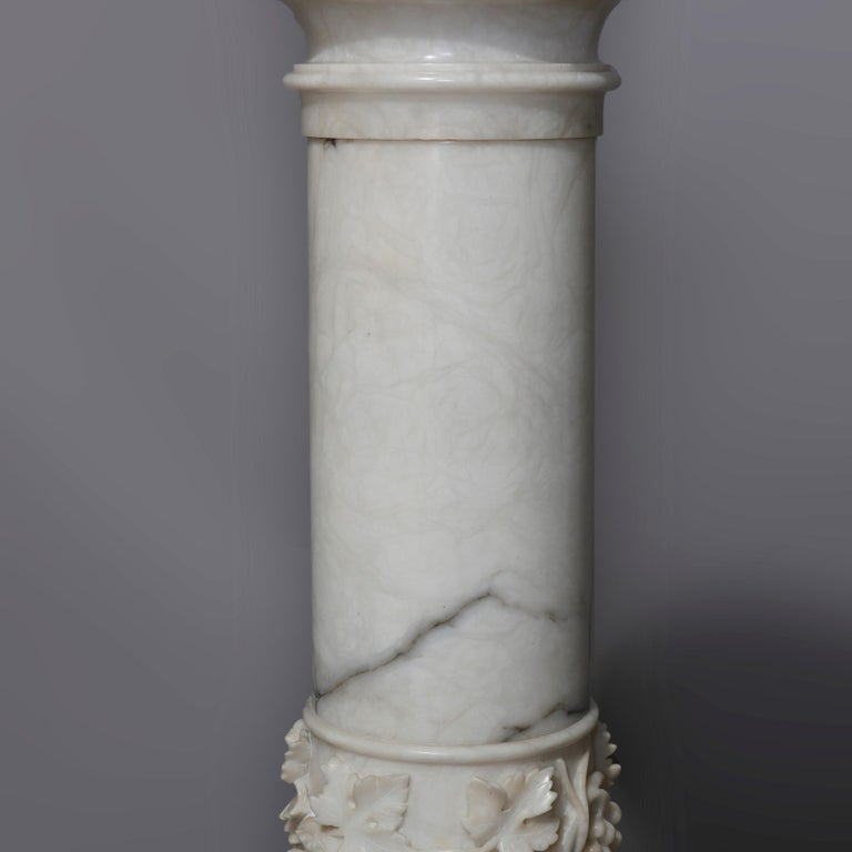 Antique Italian Neoclassical Carved Marble Sculpture Display Pedestal circa 1890 For Sale 1