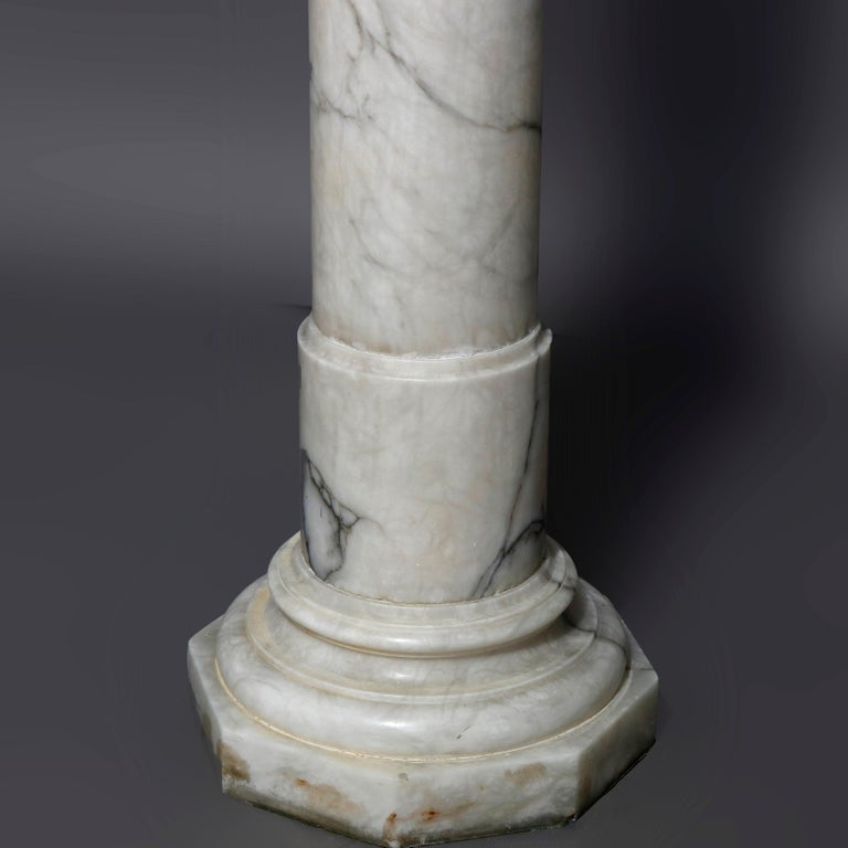 Antique Italian Neoclassical Carved Marble Sculpture Display Pedestal circa 1890 For Sale 2