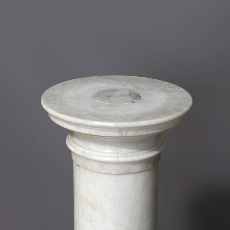 Antique Italian Neoclassical Carved Marble Sculpture Display Pedestal circa 1890 For Sale 4