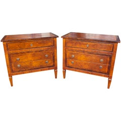 Antique Italian Neoclassical Commodes or Chests, a Pair
