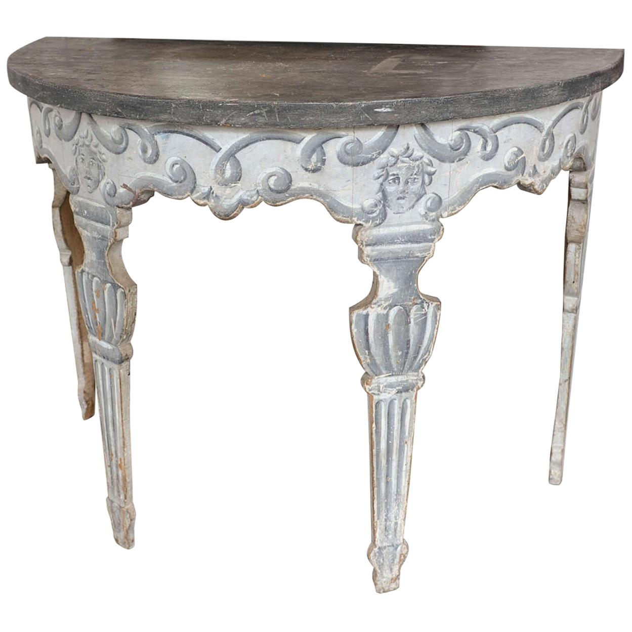 Antique Italian Neoclassical Demilune Side Table from circa 1800