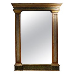 Antique Italian Neoclassical Faux Marble and Giltwood Mirror