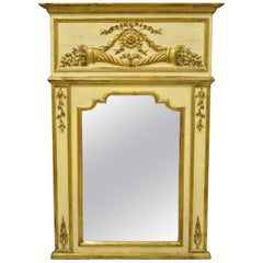 Antique Italian Neoclassical Gold Giltwood Large Trumeau Wall Mirror