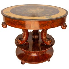 Antique Italian Neoclassical Sgagliola Table with Carved Dolphin Base circa 1810