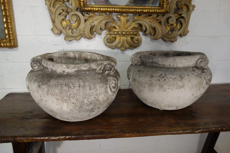 Antique Italian Nouveau Style Large Pair of Grisaglia Urns from Lake Como For Sale 10