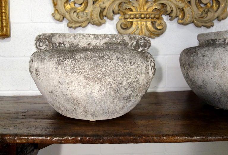Art Nouveau Antique Italian Nouveau Style Large Pair of Grisaglia Urns from Lake Como For Sale