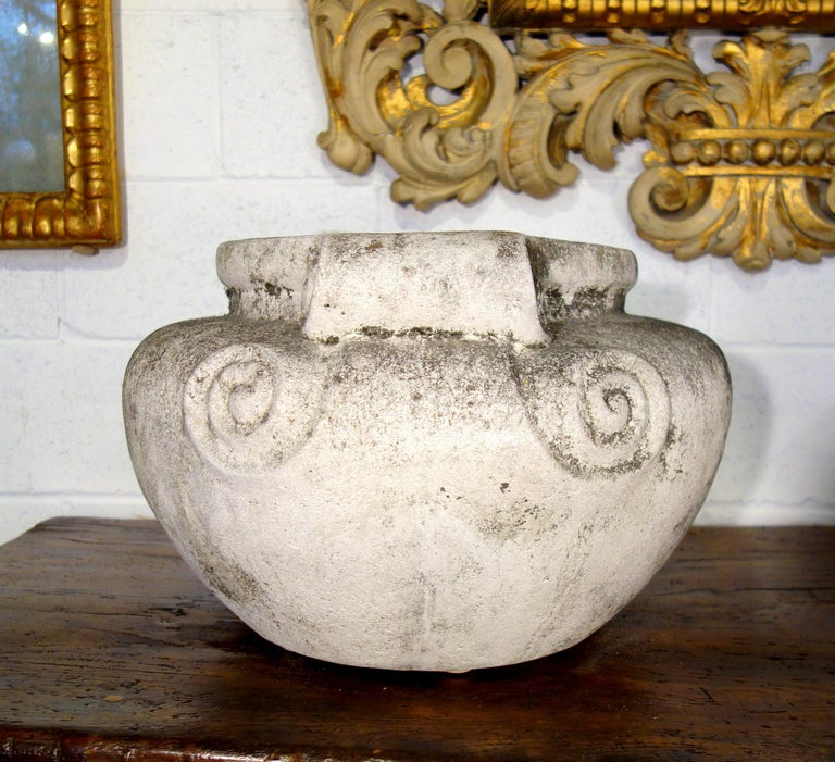 Antique Italian Nouveau Style Large Pair of Grisaglia Urns from Lake Como In Good Condition For Sale In Encinitas, CA