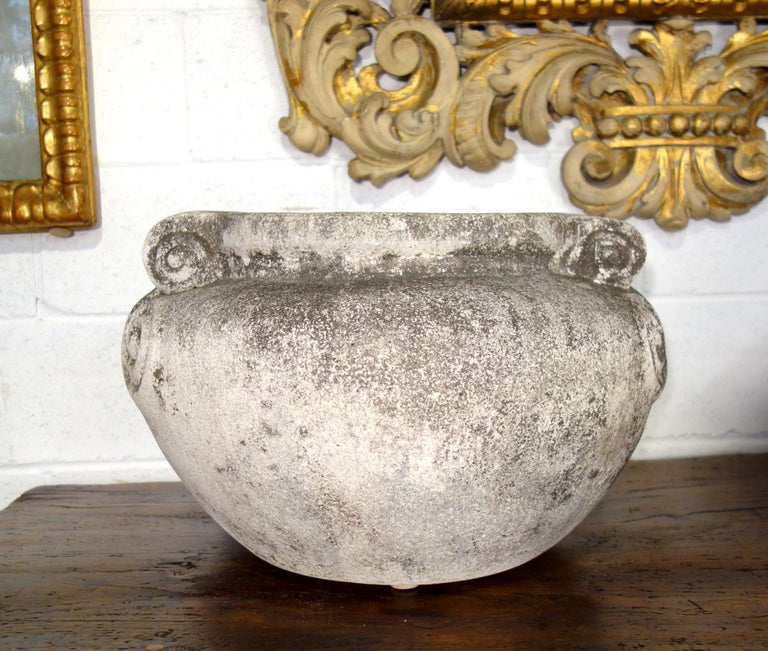 Early 20th Century Antique Italian Nouveau Style Large Pair of Grisaglia Urns from Lake Como For Sale