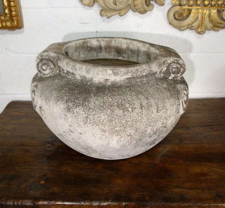 Stone Antique Italian Nouveau Style Large Pair of Grisaglia Urns from Lake Como For Sale