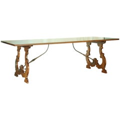 Antique Italian Oak, Diamond Parquetry and Iron Dining Table