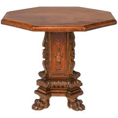 Antique Italian Octagon Walnut Pedestal Table