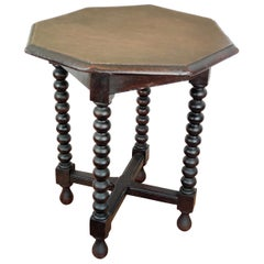 Antique Italian Octagonal Walnut Side Table or Stool with Bobbin Turned Legs