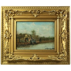 Antique Italian Oil on Canvas Orientalist of River Scene, Signed W. Gianni 1918