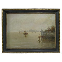 Antique Italian Oil on Canvas Painting of Venice, Signed
