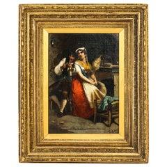 Antique Italian Oil Painting Francesco Peluso, 19th Century