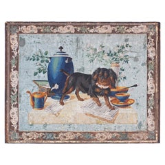 Antique Italian Oil Painting on Canvas of a Dog