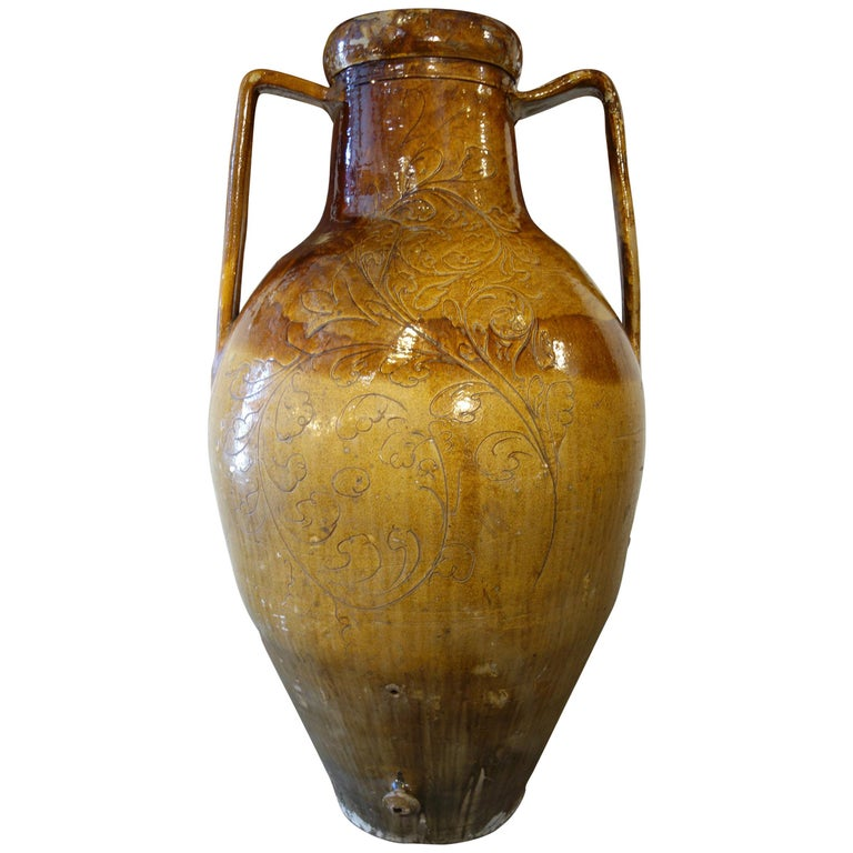 Antique Italian Orcio Puglia Colossal Jar Ochre and Umbra Glaze with Engraving For Sale