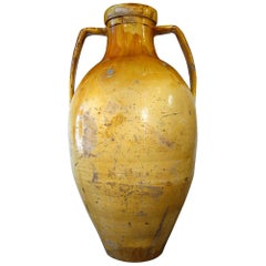 Antique Italian Orcio Puglia Colossal Jar with Bright Ochre Glaze