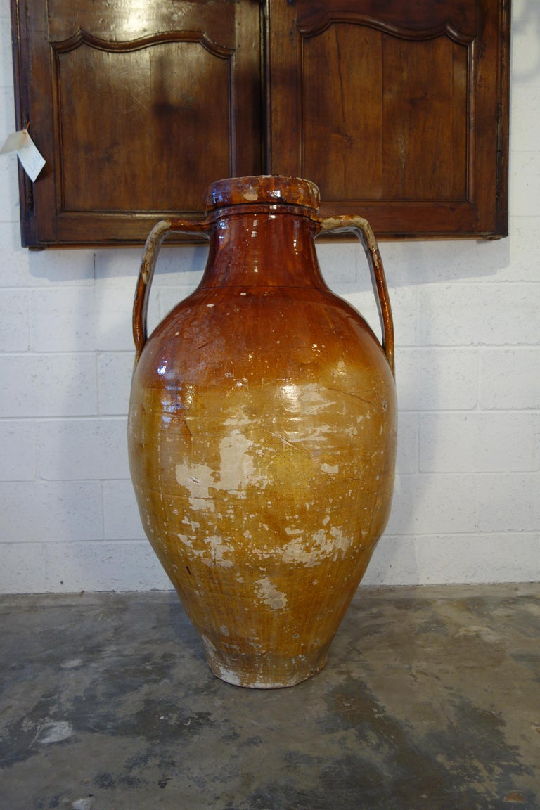 Antique Italian Orcio Puglia Large Jar with Dark Umber and Ochre Glaze For Sale 6