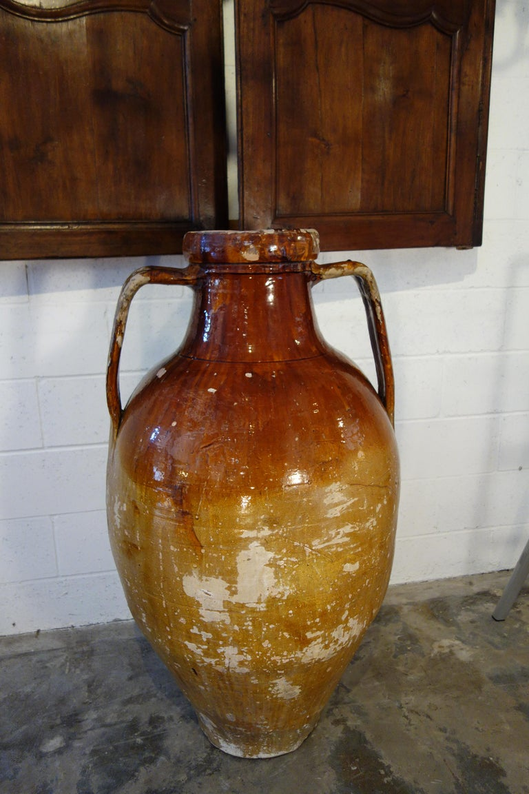 Antique Italian Orcio Puglia Large Jar with Dark Umber and Ochre Glaze For Sale 13