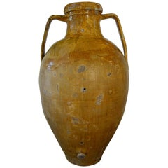 Antique Italian Orcio Puglia Large Jar with Ochre Glaze