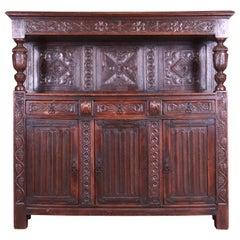 Antique Italian Ornate Carved Oak Sideboard or Bar Cabinet, circa 1800