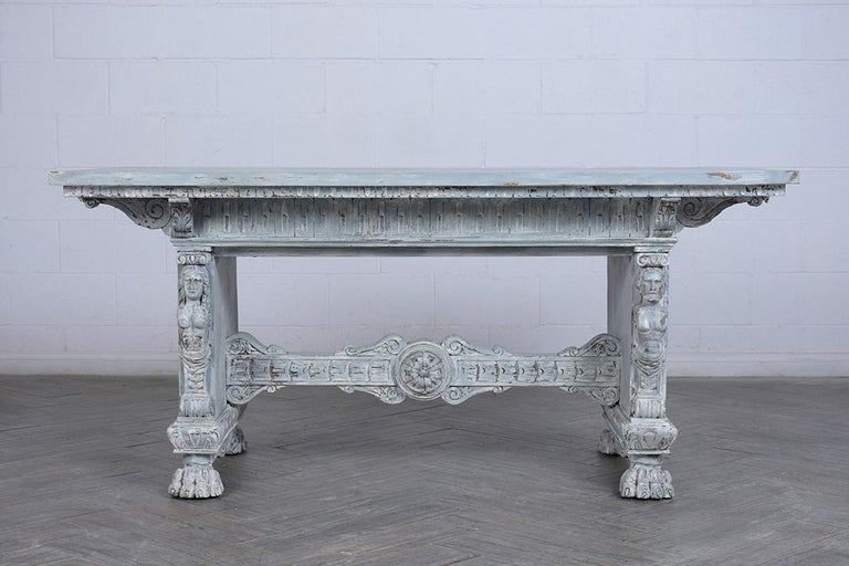 Carved Antique Italian Painted Dining Table For Sale
