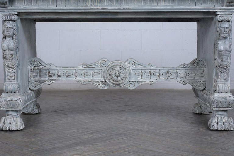 Wood Antique Italian Painted Dining Table For Sale