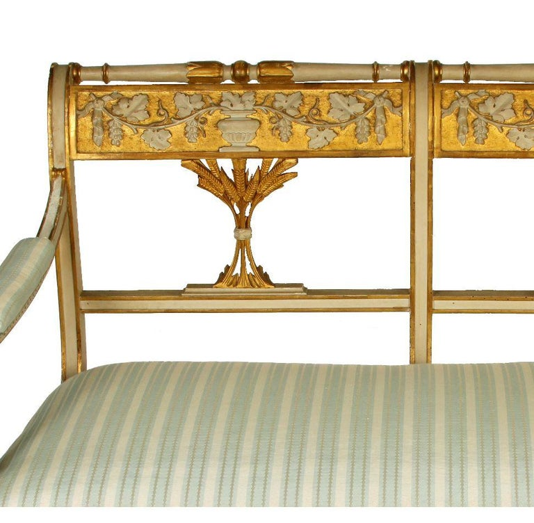 Louis XVI Antique Italian Painted Gilt Settee For Sale