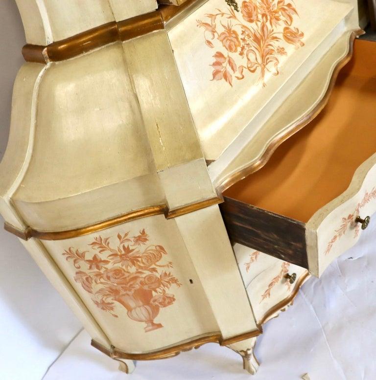 Antique Italian Painted Secretary Desk Bookcase For Sale 5