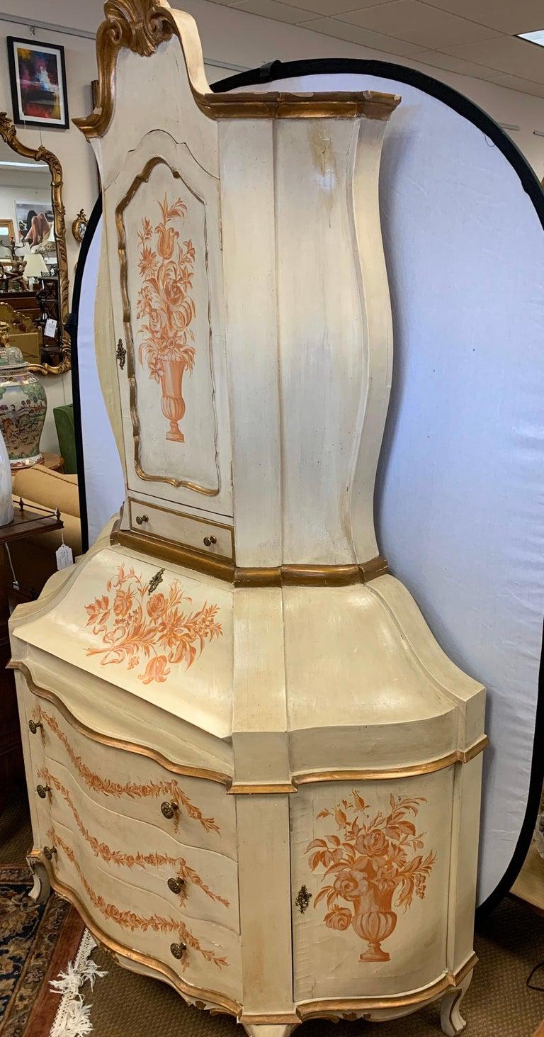Antique Italian Painted Secretary Desk Bookcase For Sale 6