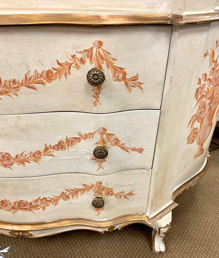 Mid-20th Century Antique Italian Painted Secretary Desk Bookcase For Sale