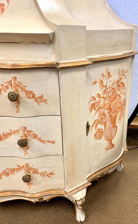 Antique Italian Painted Secretary Desk Bookcase For Sale 1