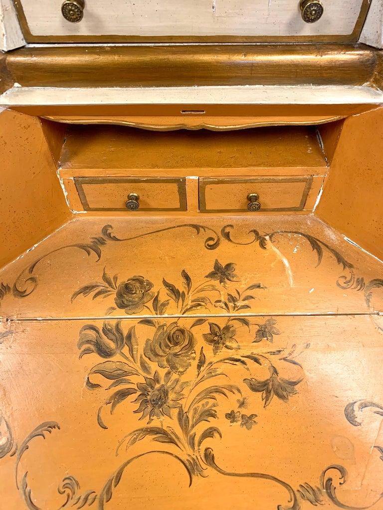 Antique Italian Painted Secretary Desk Bookcase For Sale 3