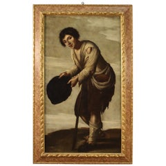 Antique Italian Painting Beggar from the 18th Century