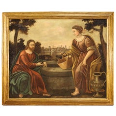 Antique Italian Painting Jesus and the Samaritan Woman at the Well, 18th Century